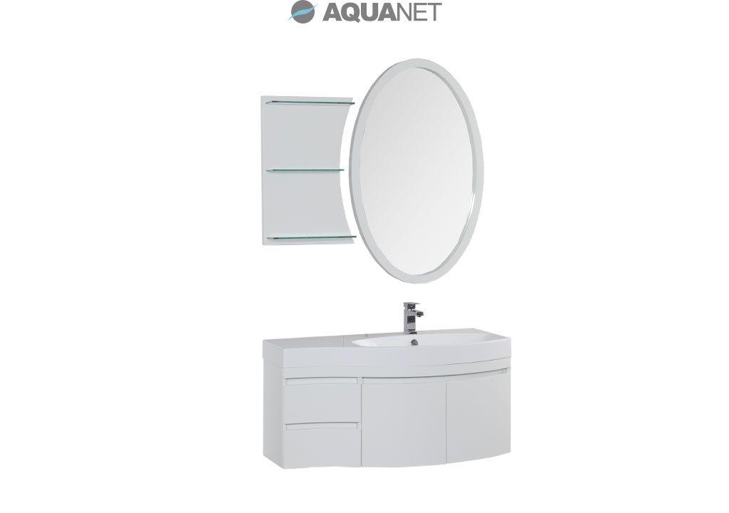 Комплект мебели Aquanet  Опера 115 правая распашные двери зеркало овальное+полка цвет белый (169418)