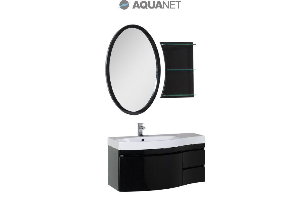 Комплект мебели Aquanet  Опера 115  левая с выдвижными  ящиками, зеркало овальное+полка, цвет черный (169449)