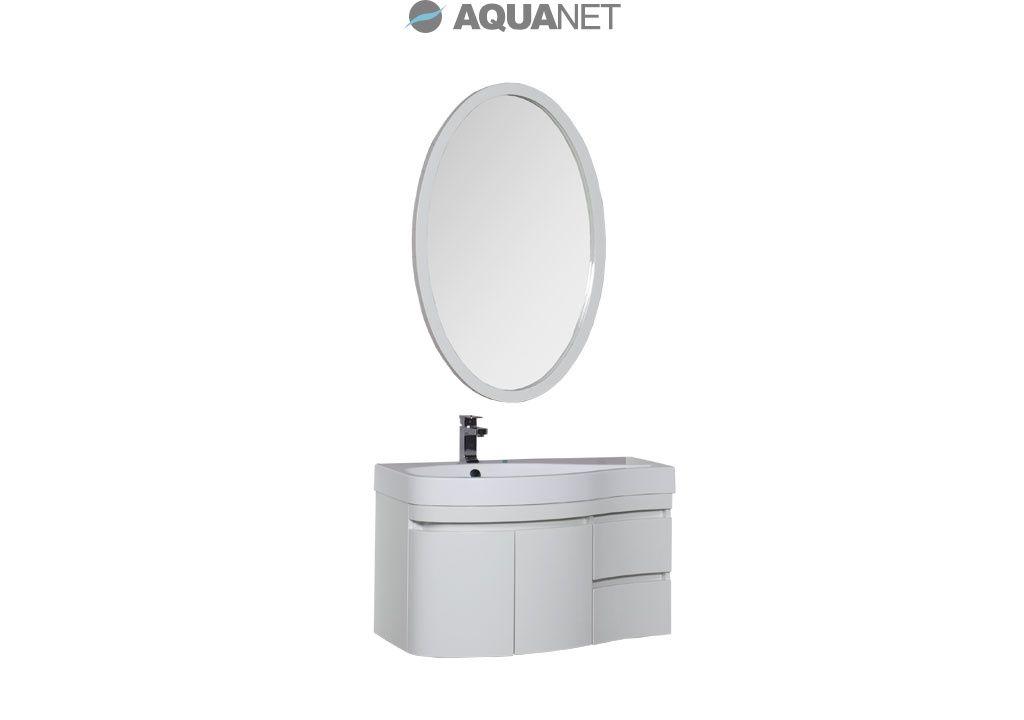 Комплект мебели Aquanet  Сопрано 95 левая распашные двери зеркало овальное, цвет белый (169344)