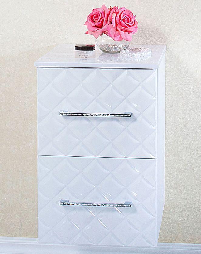 Комод для ванной комнаты Бриклаер Жаклин 40, белый глянец/стразы, подвесной